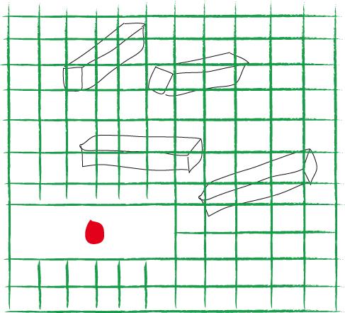 Aufbau der Übung: Unter dem Drahtgeflecht (grün) liegen die Geruchshölzchen oder Attrappen, in der Aussparung das Leckeren (rot) und später das richtige Hölzchen